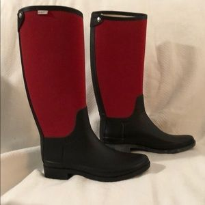 Hunter Red and Black rain boots size 8